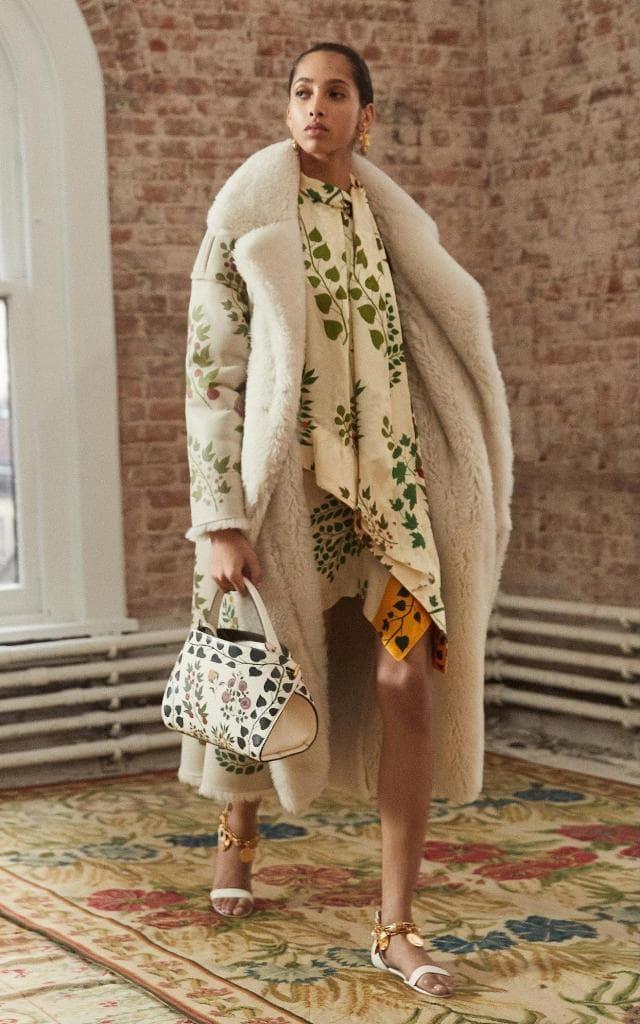 Пальто цветочный принт